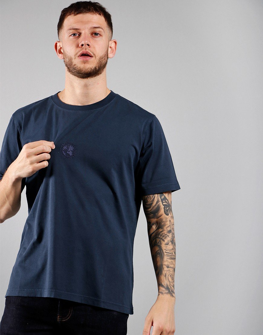 Nigel Cabourn Pig Dye Logo T-Shirt Black/Navy
