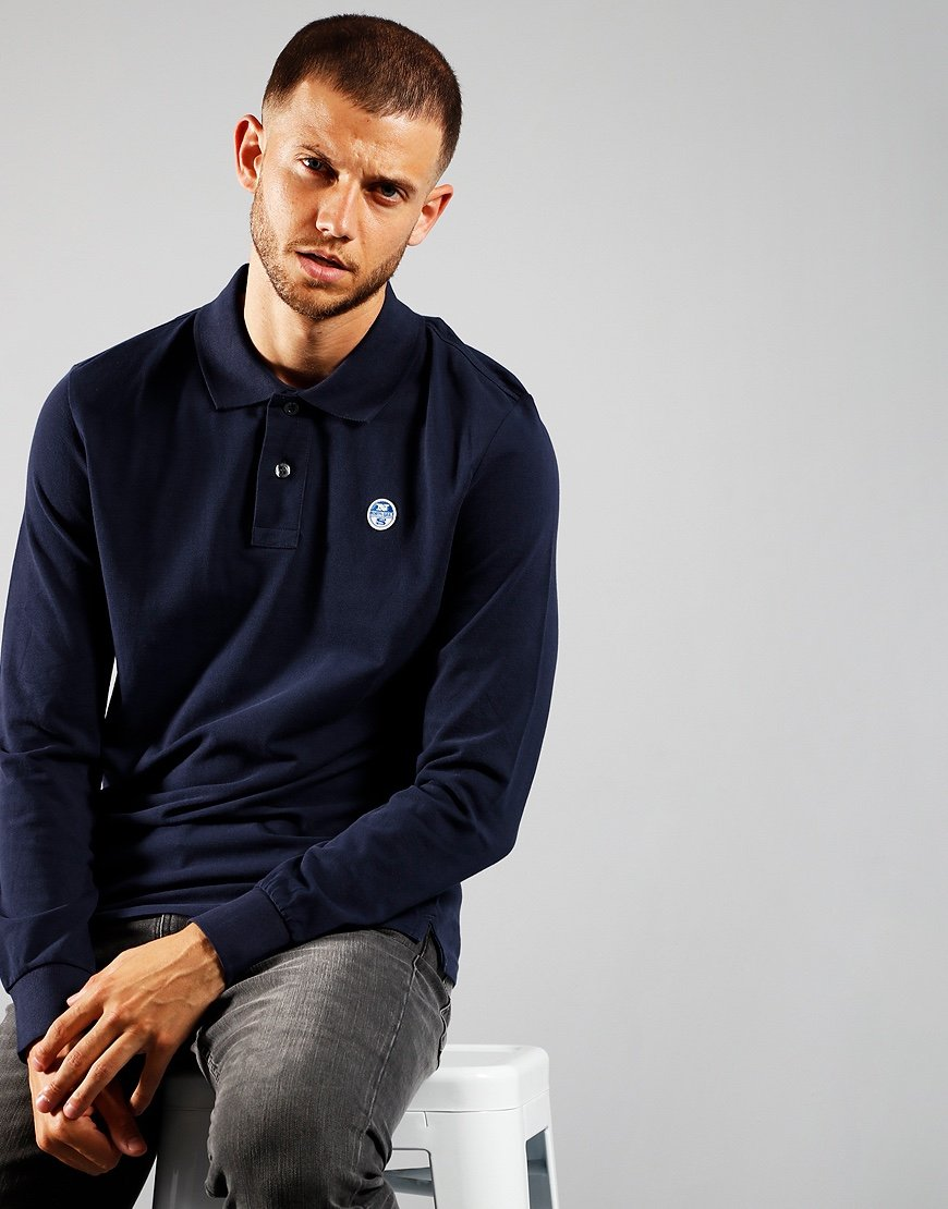 North Sails Long Sleeve Polo Shirt Navy
