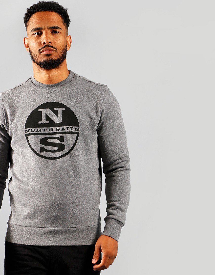 North Sails Graphic Crew Sweat Medium Grey Marl