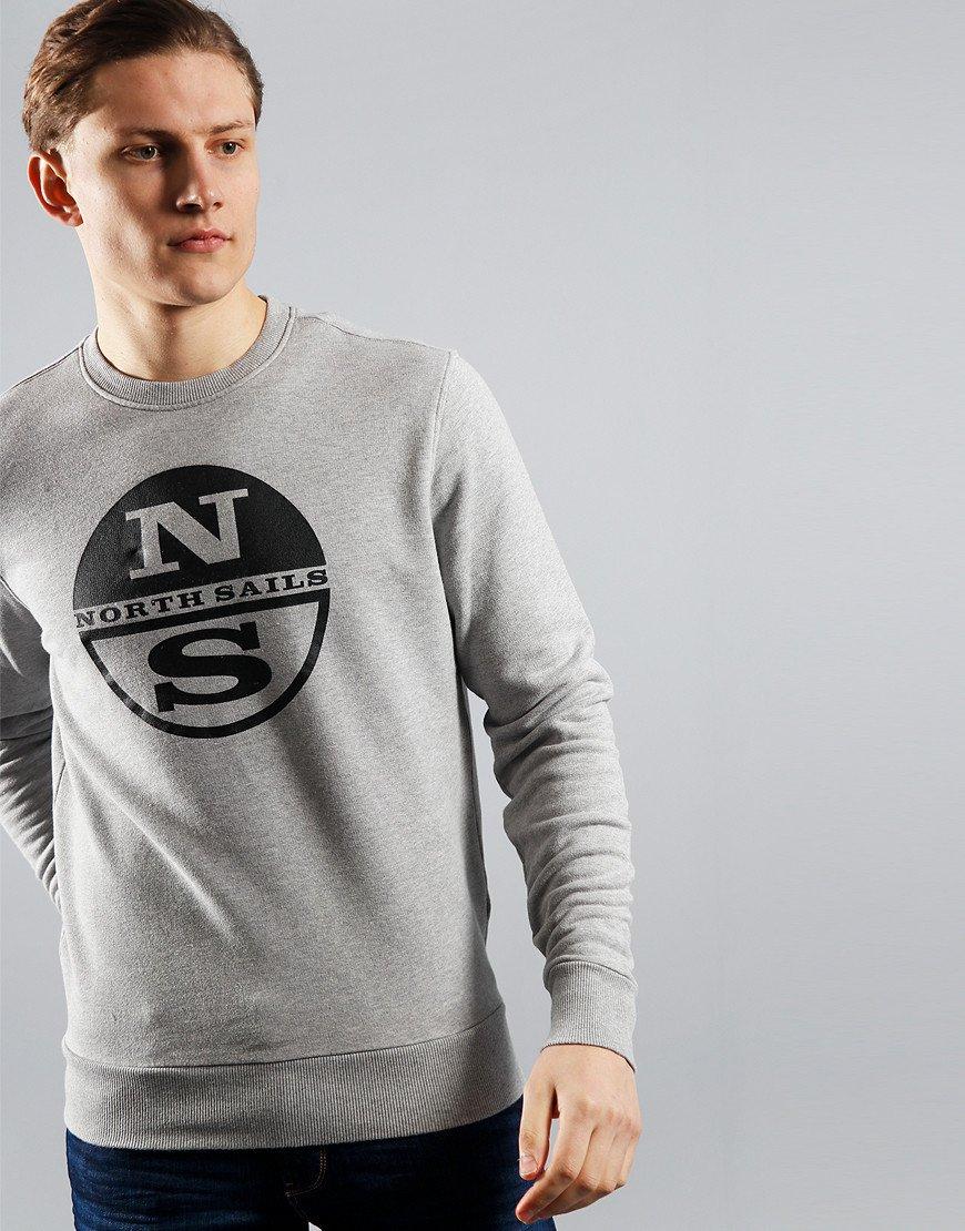 North Sails Large Logo Crew Neck Sweat Grey Melange