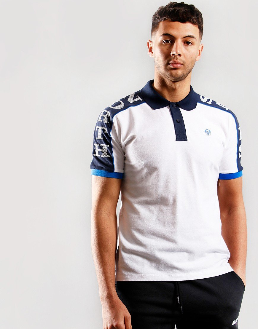 North Sails Taped Graphic Polo Shirt White