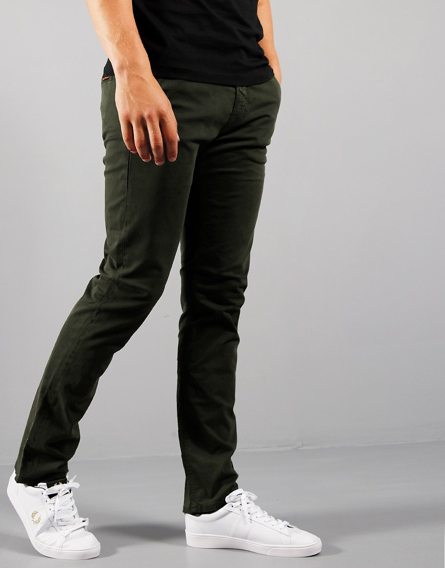Nudie Slim Adam Tapered Fit Chinos Bunker
