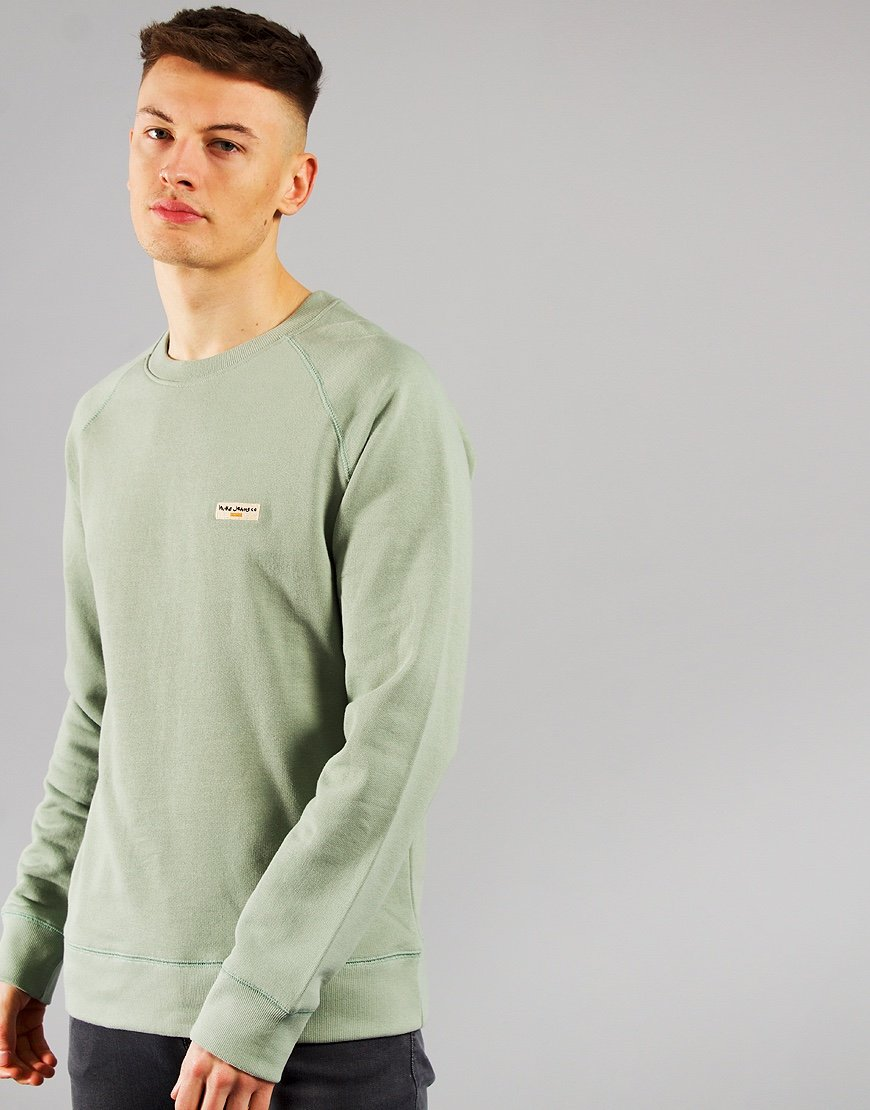 Nudie Samuel Logo Crew Sweat Pale Green