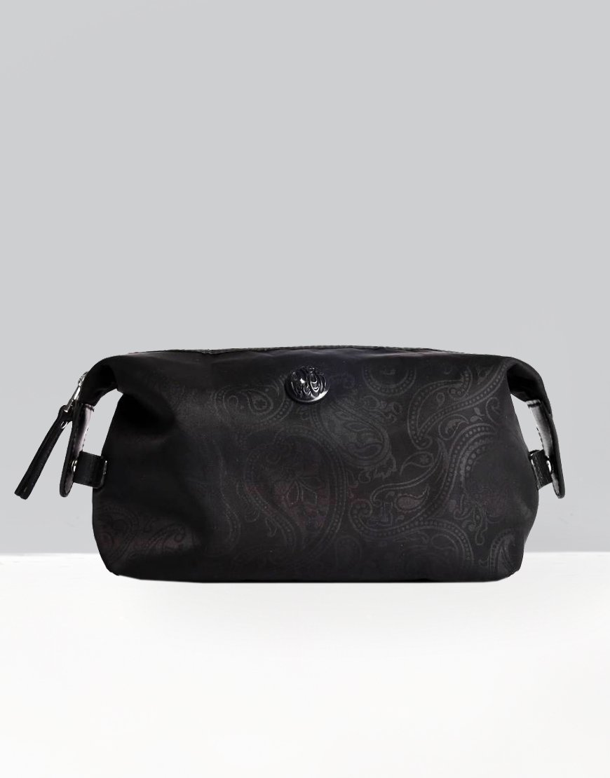 Pretty Green Paisley Print Nylon Washbag Black
