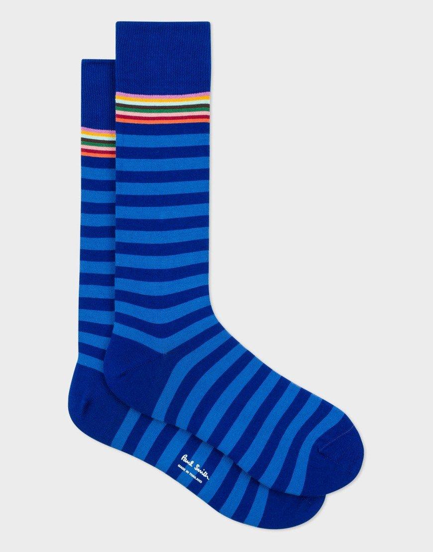 Paul Smith Two Stripe Sock 45 Cobalt Blue