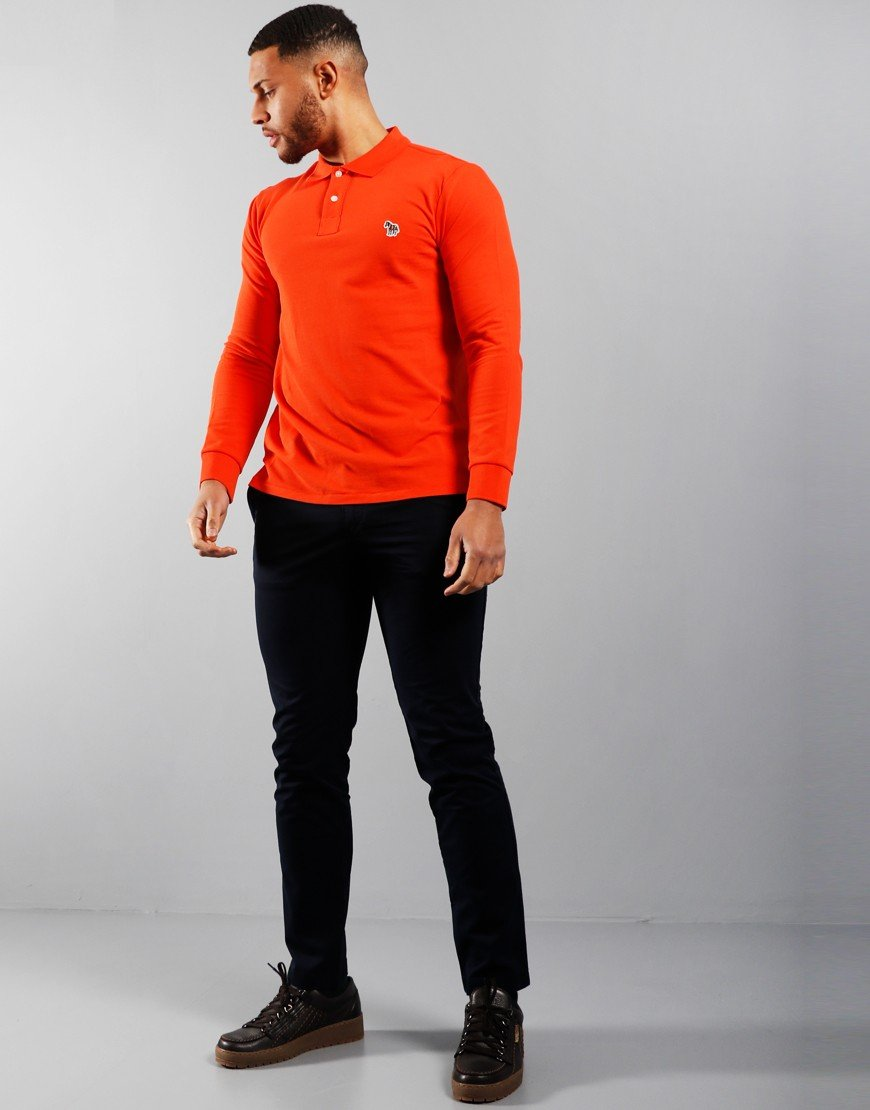 Paul Smith Long Sleeve Regular Fit Polo Shirt Dark Orange