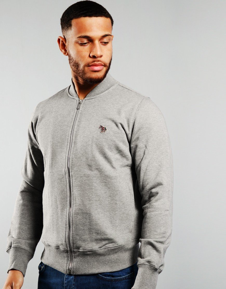 Paul Smith Bomber Zip Through Sweat Grey Melange