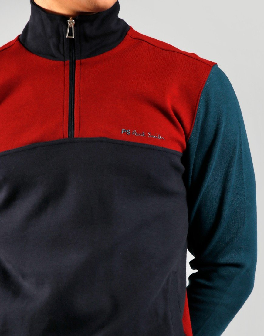 Paul Smith Half Zip Colour Block Sweat Dark Navy
