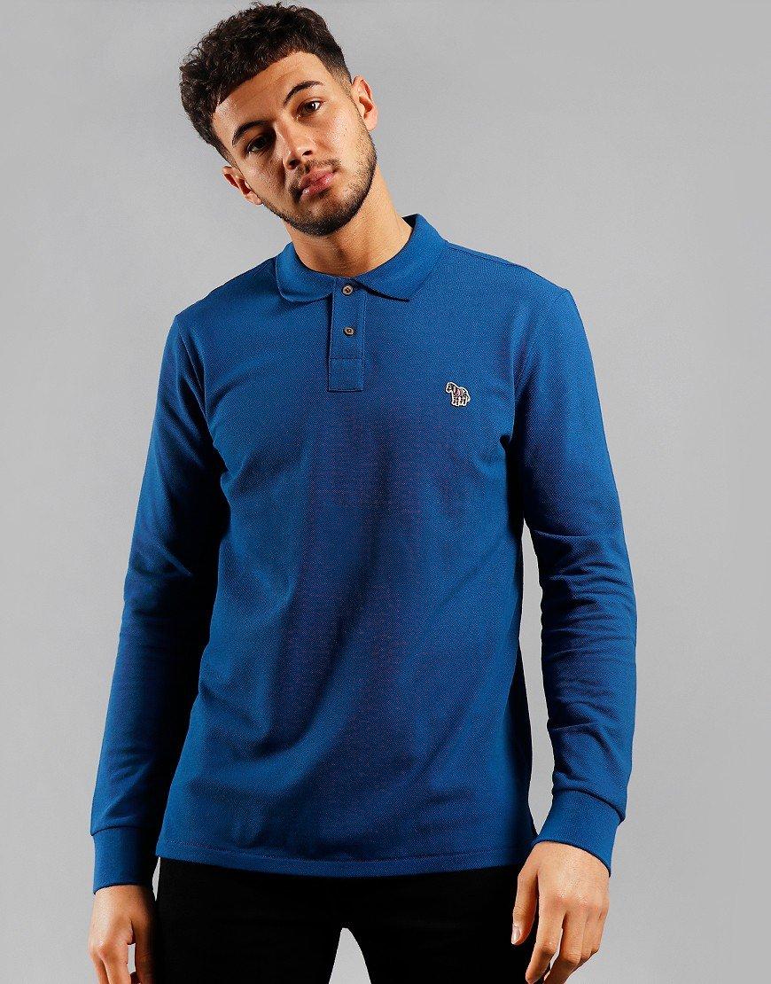 Paul Smith Long Sleeve Regular Fit Polo Shirt Blue