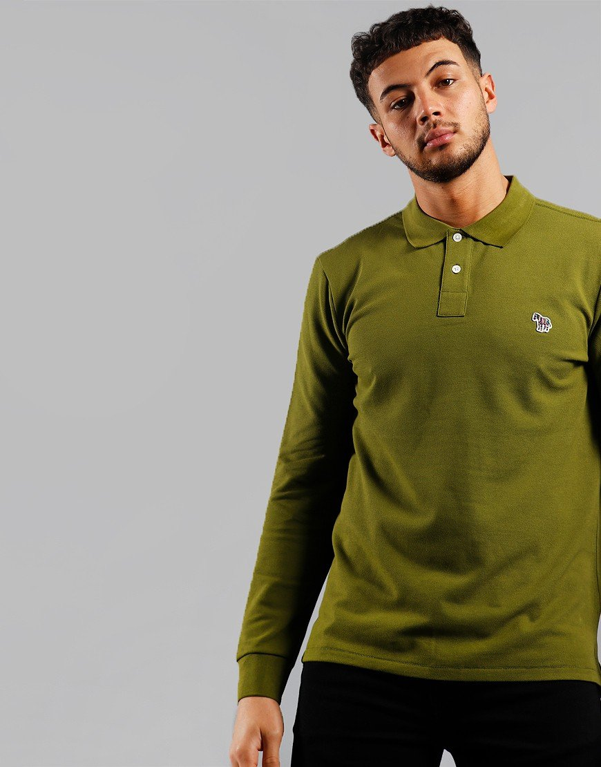 Paul Smith Long Sleeve Regular Fit Polo Shirt Pea