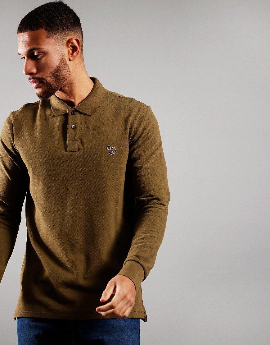 Paul Smith Long Sleeve Regular Fit Polo Shirt Military Green
