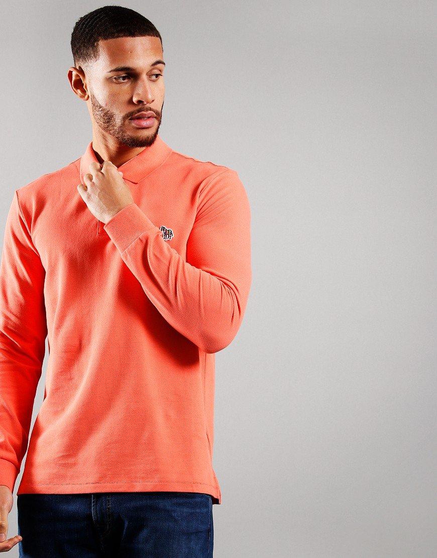 Paul Smith Long Sleeve Regular Fit Polo Shirt Coral