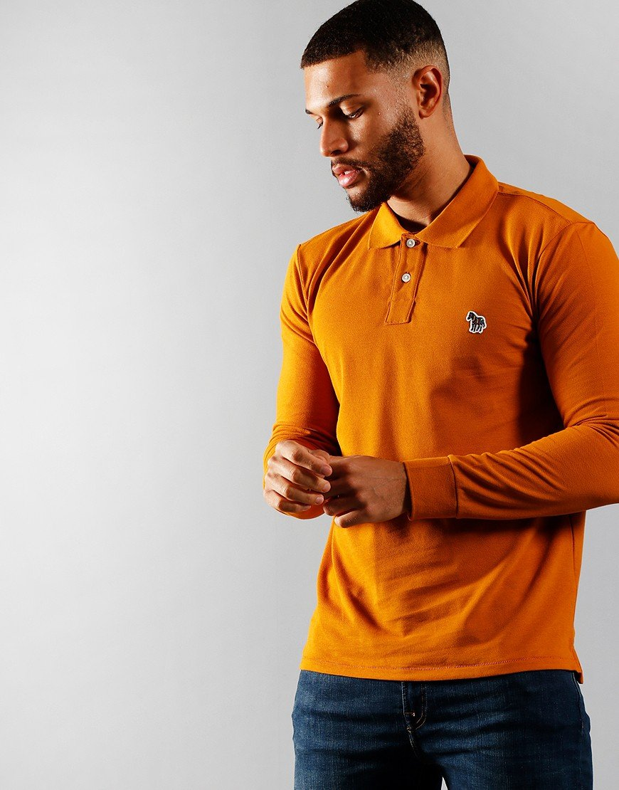 Paul Smith Long Sleeve Regular Fit Polo Shirt Dark Rust