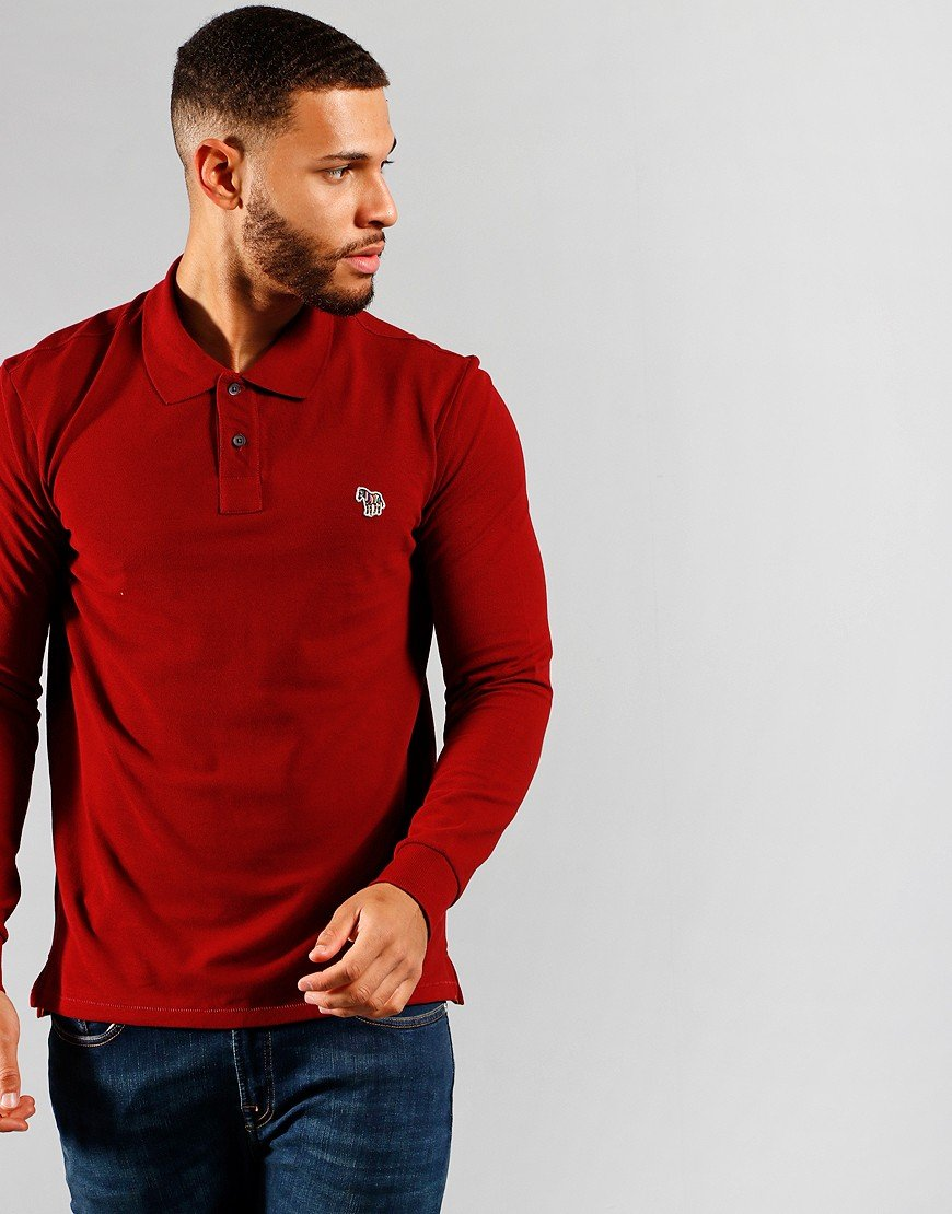 Paul Smith Long Sleeve Regular Fit Polo Shirt Dark Red