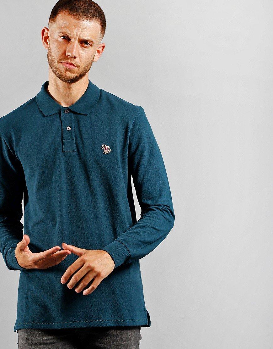 Paul Smith Long Sleeve Regular Fit Polo Shirt Teal