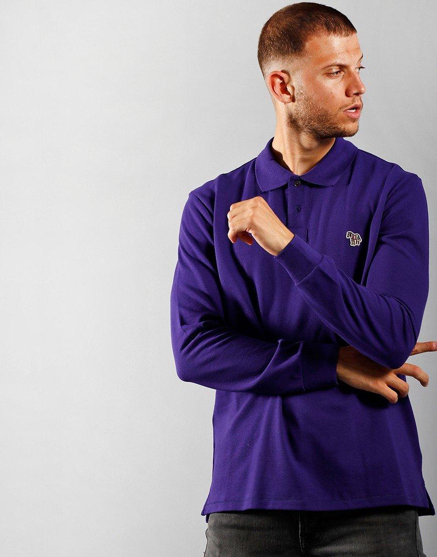 Paul Smith Long Sleeve Regular Fit Polo Shirt Purple