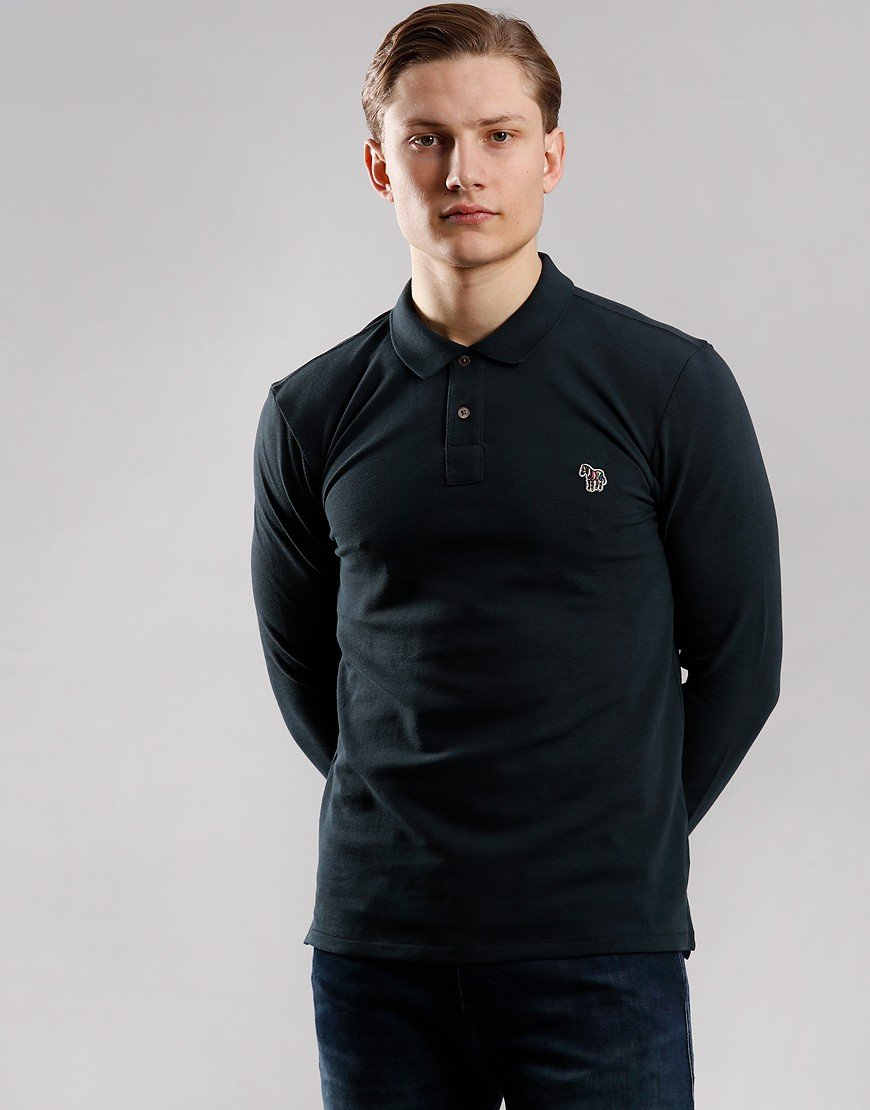 Paul Smith Long Sleeve Regular Fit Polo Shirt Black Melange