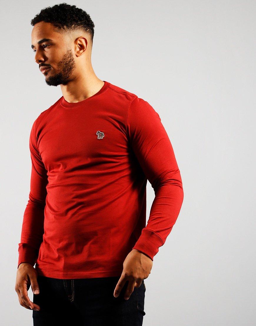 Paul Smith Long Sleeve Regular Fit T-Shirt Burgundy