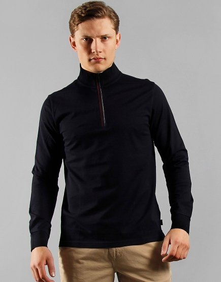 Paul Smith Half Zip Long Sleeve Cotton Funnel Neck Jumper Navy