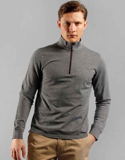 Paul Smith Half Zip Long Sleeve Cotton Funnel Neck Jumper Grey