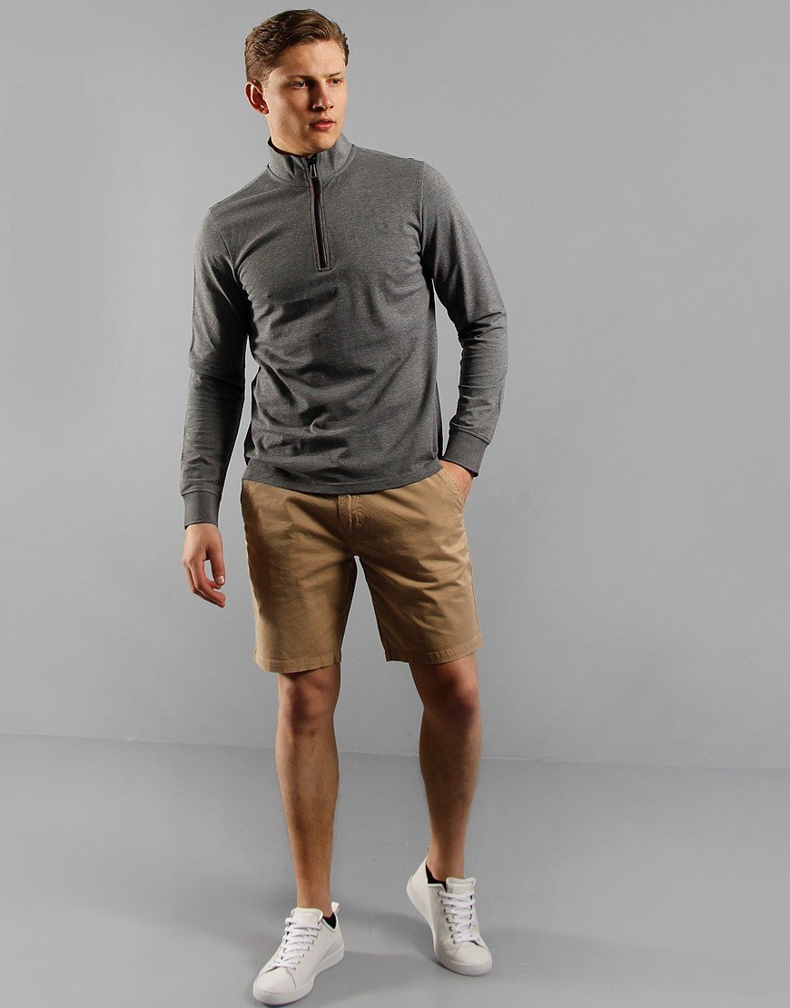 Paul Smith Half Zip Long Sleeve Cotton Funnel Neck Jumper Grey