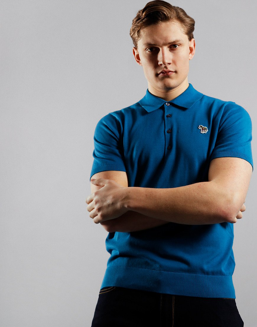 Paul Smith Pullover Knitted Polo Shirt Petrol Blue