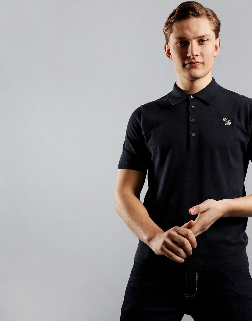 Paul Smith Pullover Knitted Polo Shirt Dark Navy