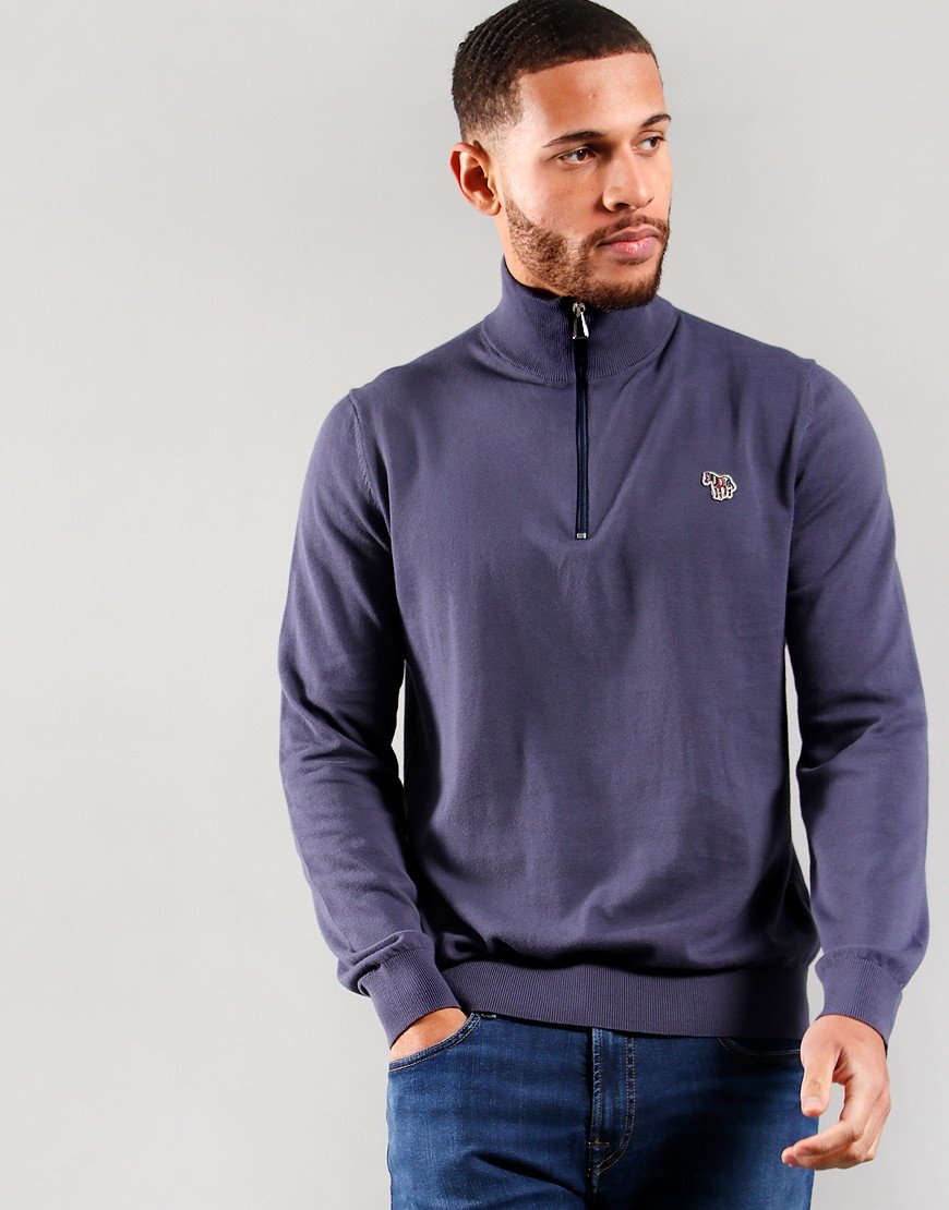 Paul Smith Pullover Zip Neck Knit Grey Blue