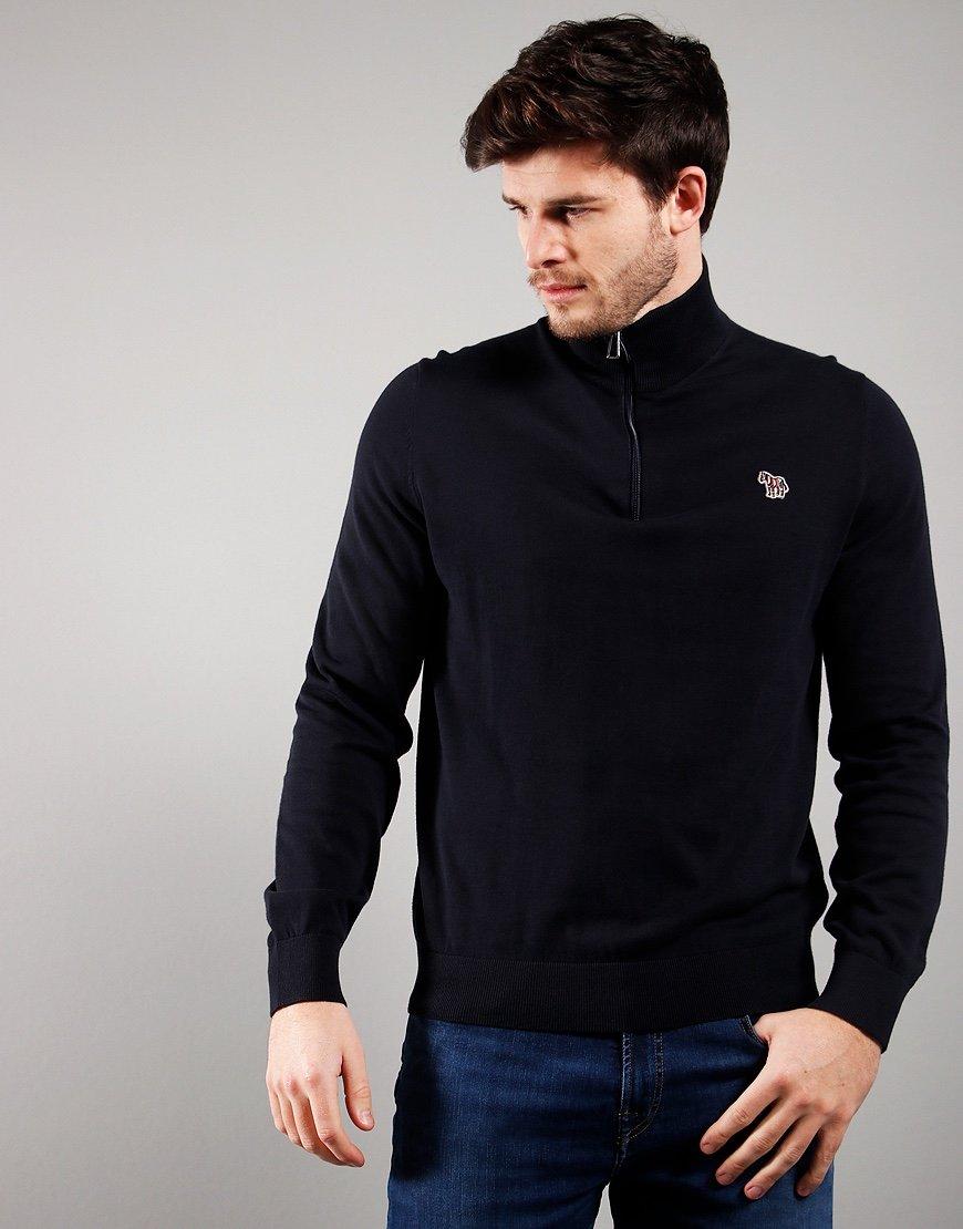 Paul Smith Pullover Zip Neck Knit Dark Navy
