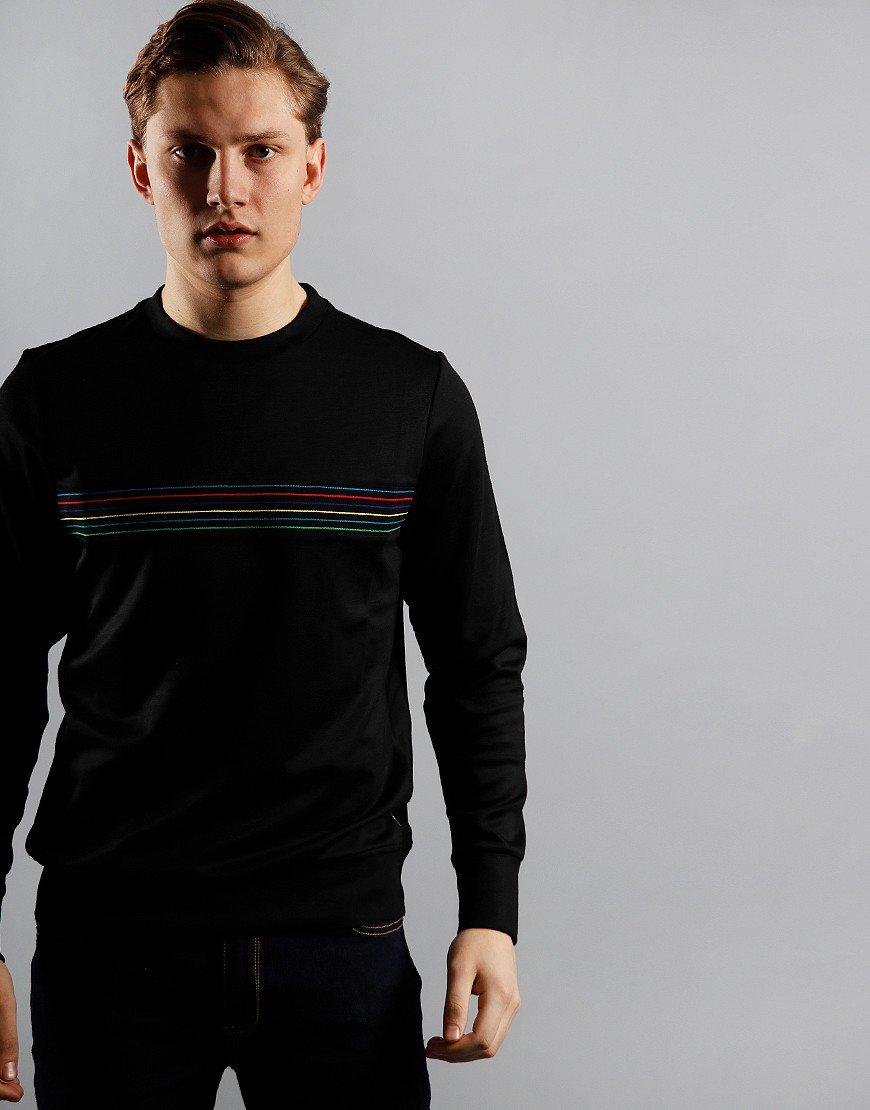 Paul Smith Zebra Stripe Crew Sweatshirt Black