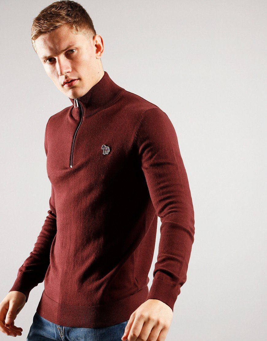 Paul Smith Pullover Half Zip Knit 29 Dark Red