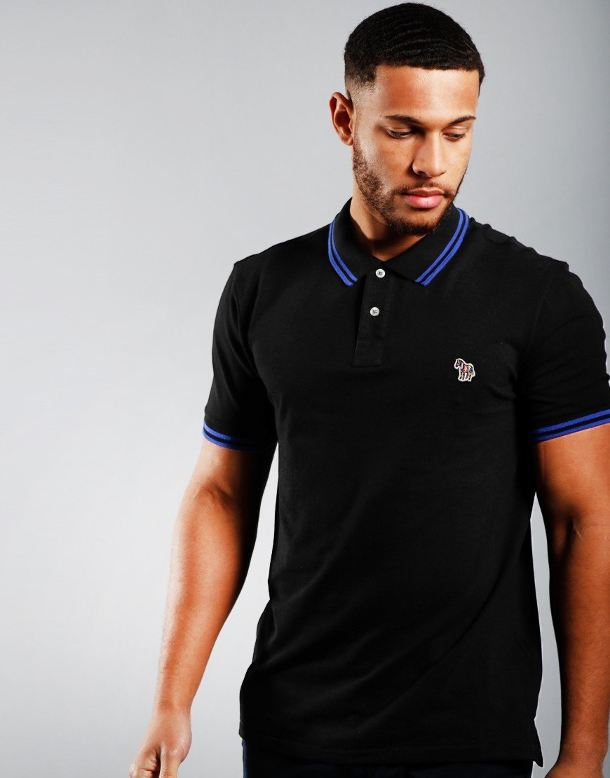 Paul Smith Short Sleeved Tipped Polo Shirt Black