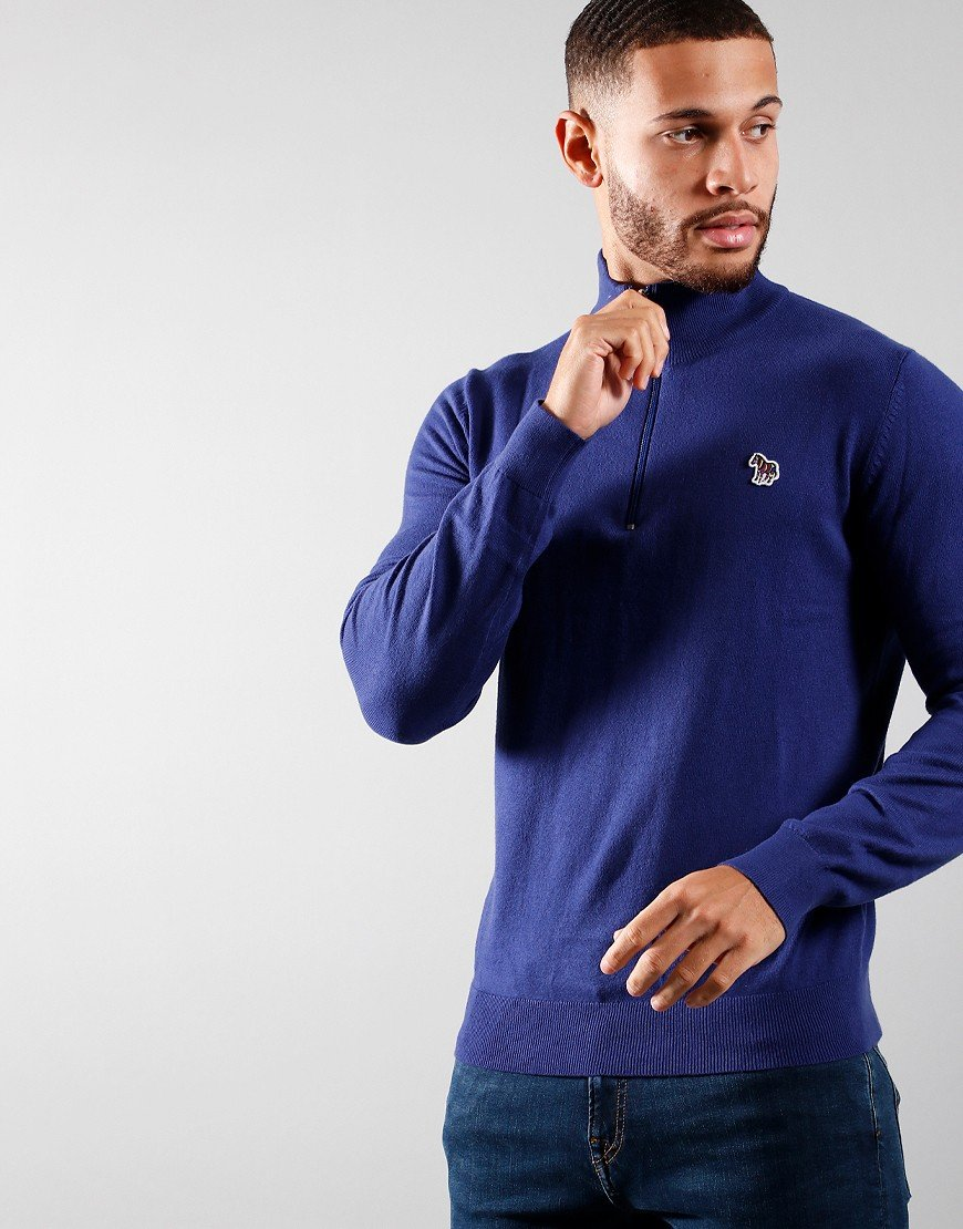 Paul Smith Pullover Zip Neck Knit Inky Blue