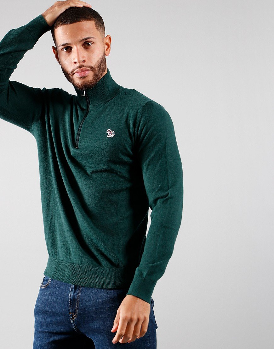 Paul Smith Pullover Zip Neck Knit Bottle Green