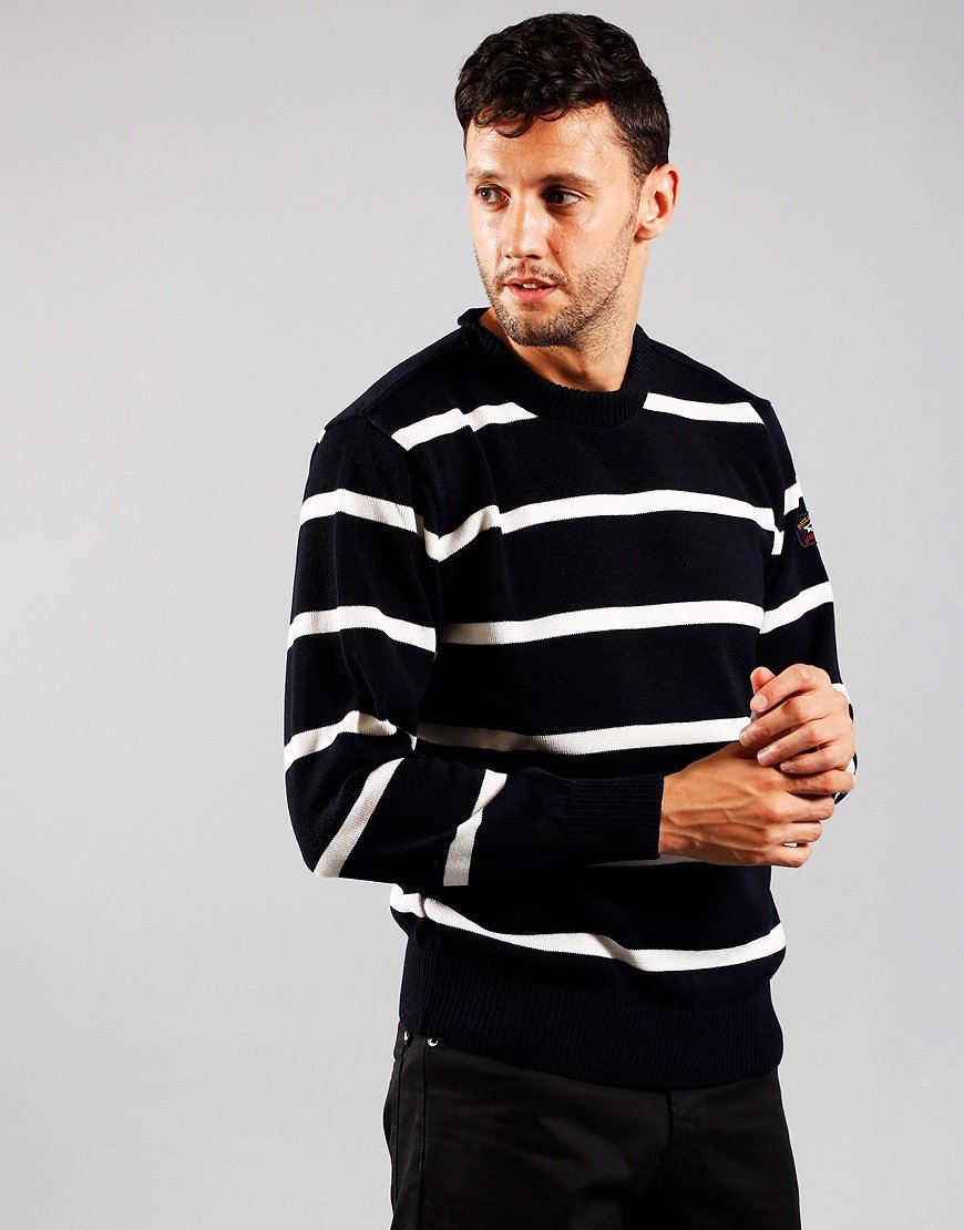 Paul & Shark Stripe Crew Knit Navy/White
