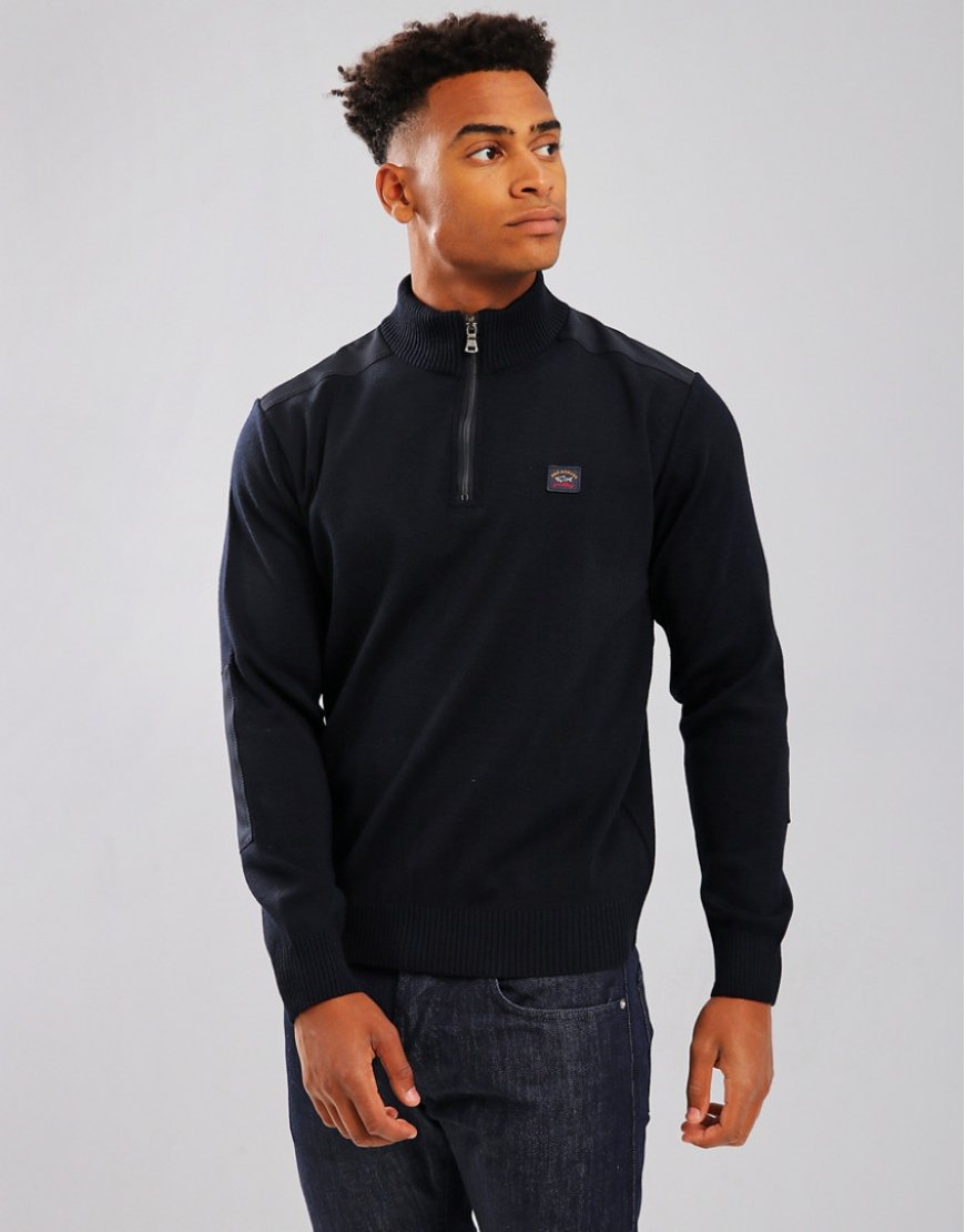 Paul & Shark Contrast Panel Funnel Neck 1/4 Zip Jumper Blue