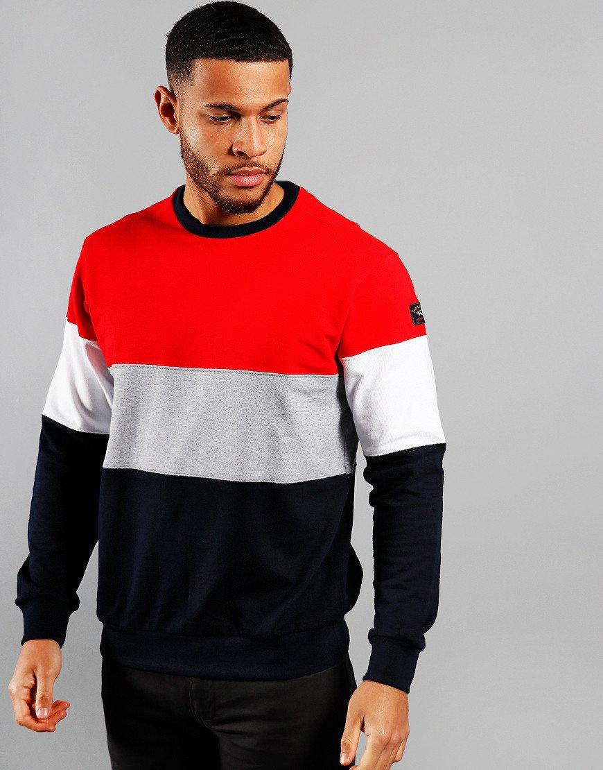 Paul & Shark Block Stripe Crew Sweat Blue/Red/Grey/White