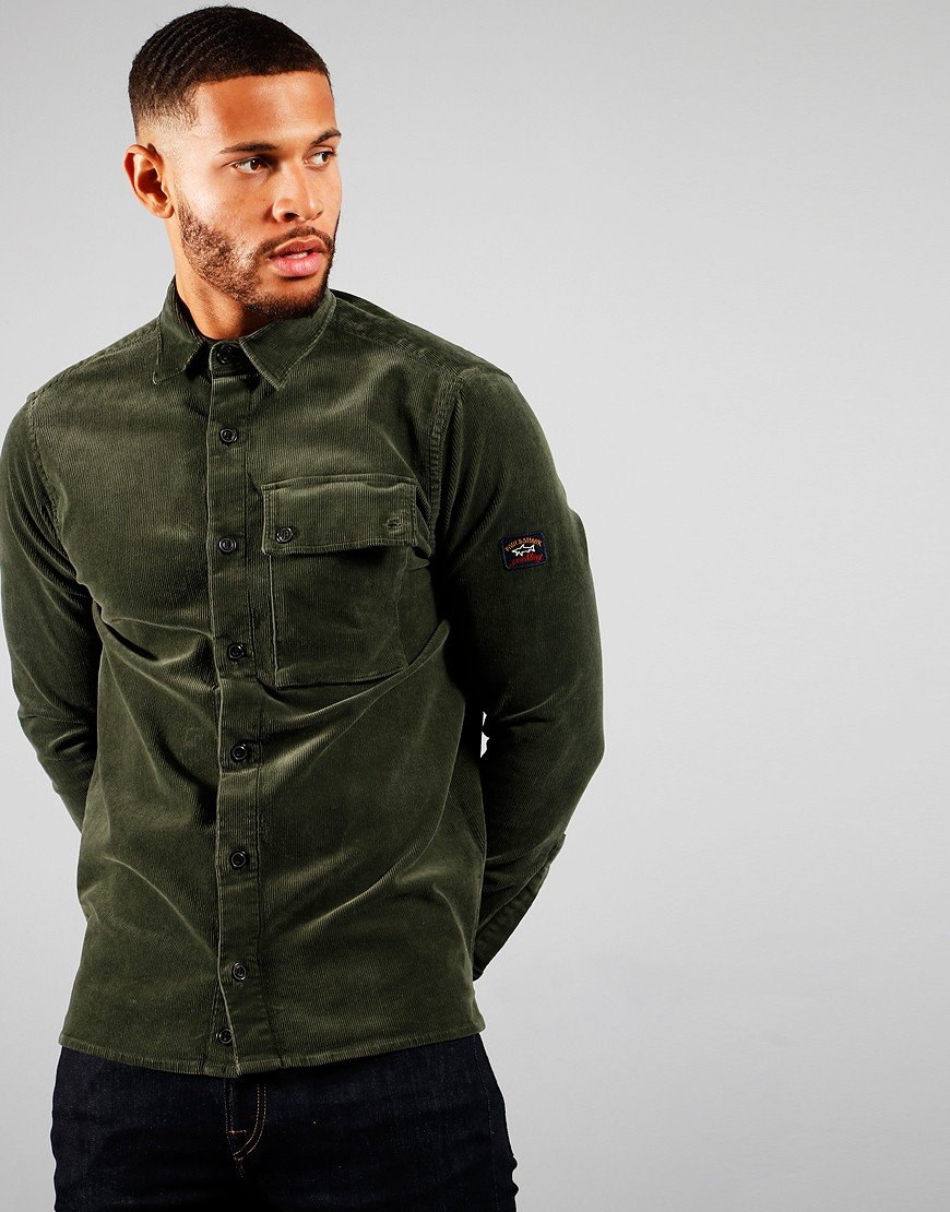 Paul & Shark Corduroy Overshirt Military Green