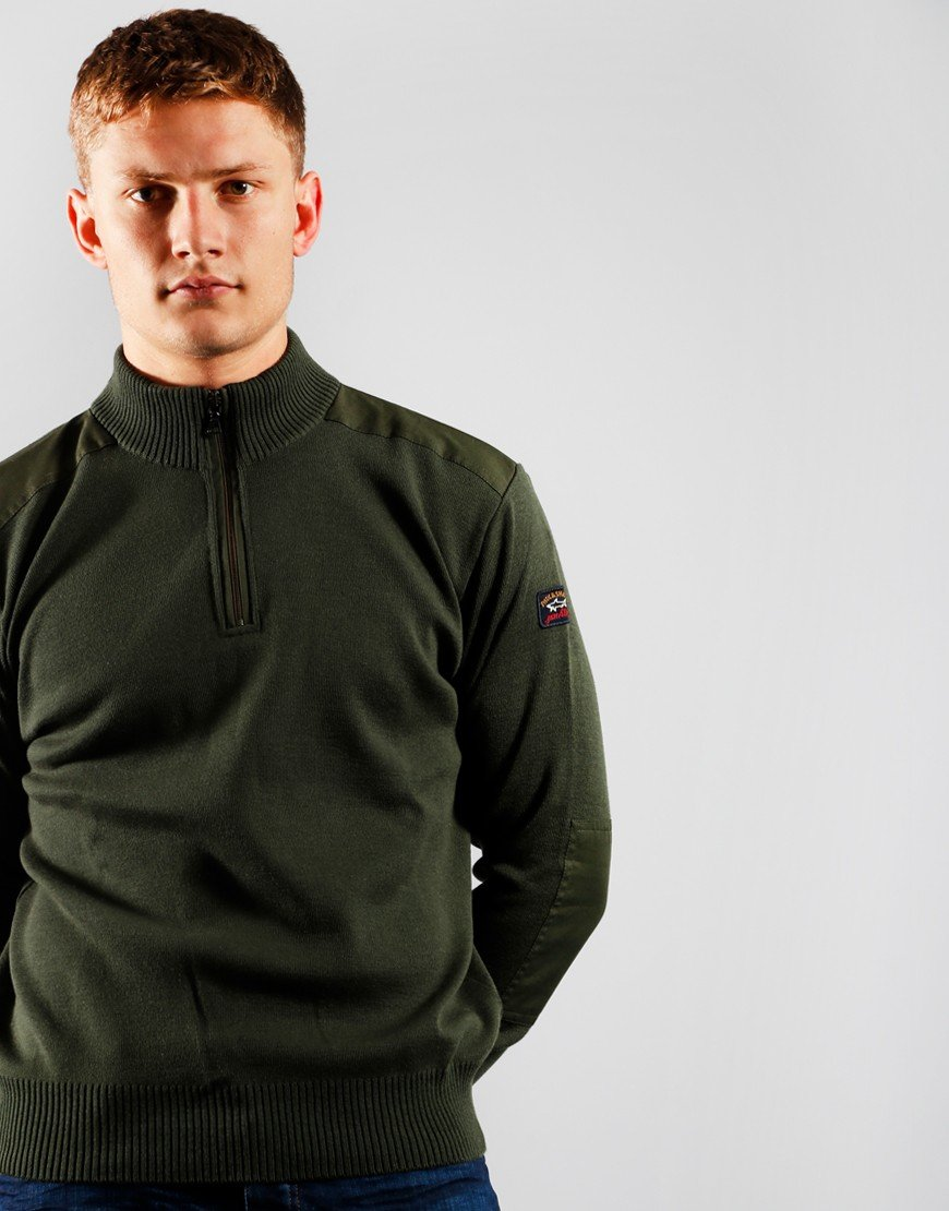 Paul & Shark Half Zip Knit Military Green