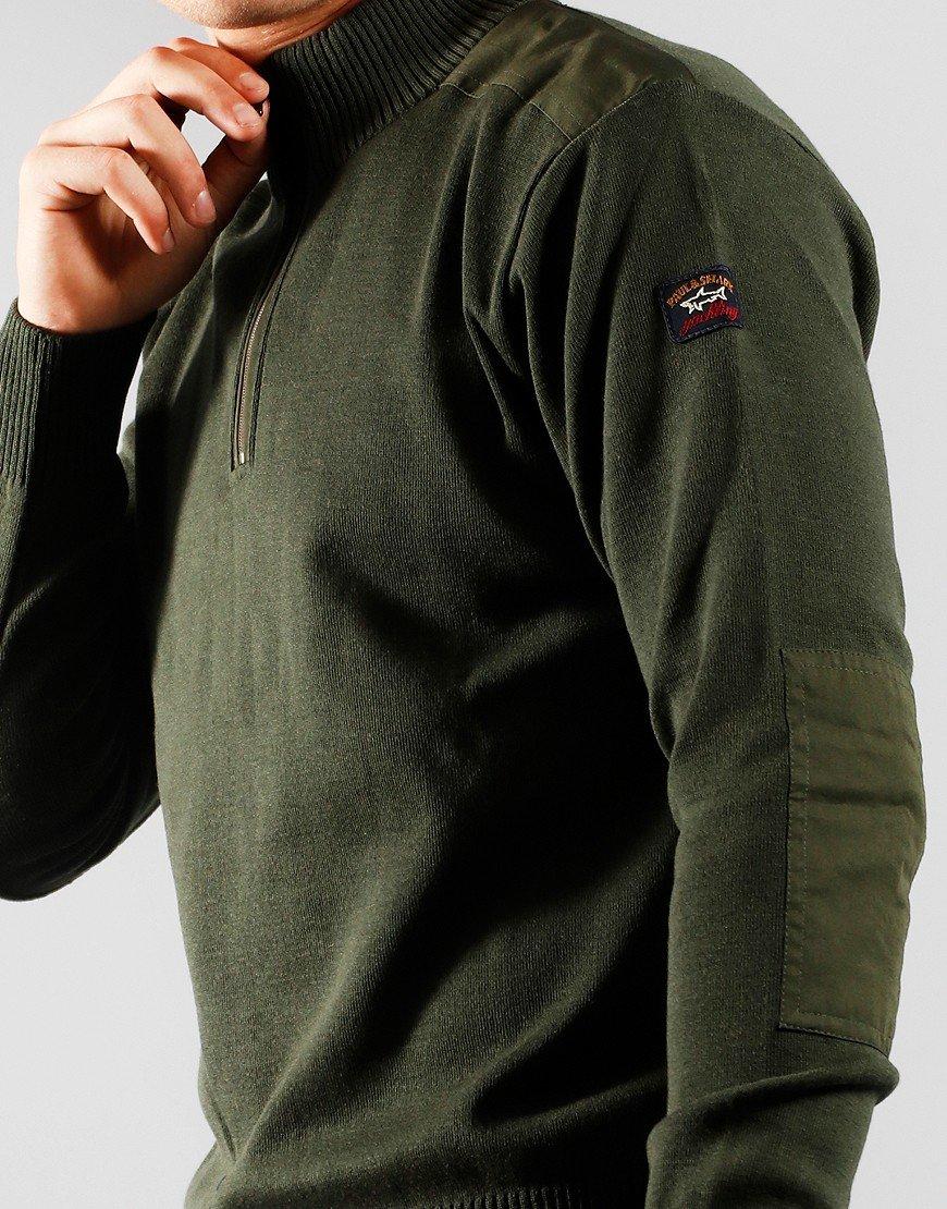 Paul & Shark Half Zip Knit Military Green