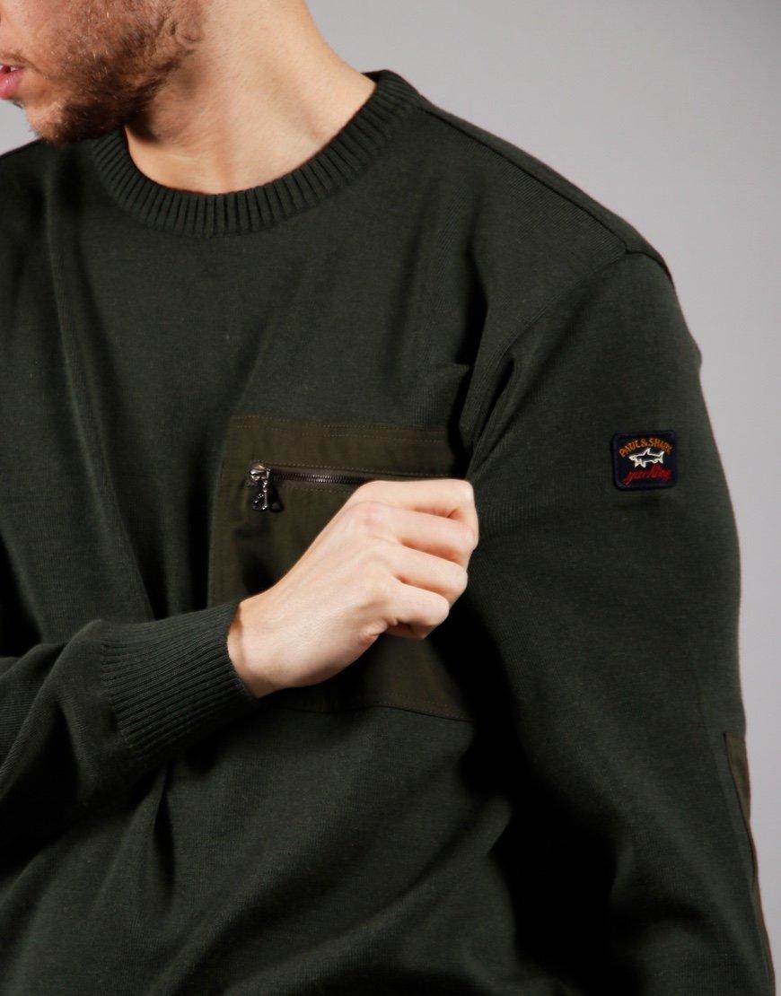 Paul & Shark Pocket Roudneck Knit Olive Green