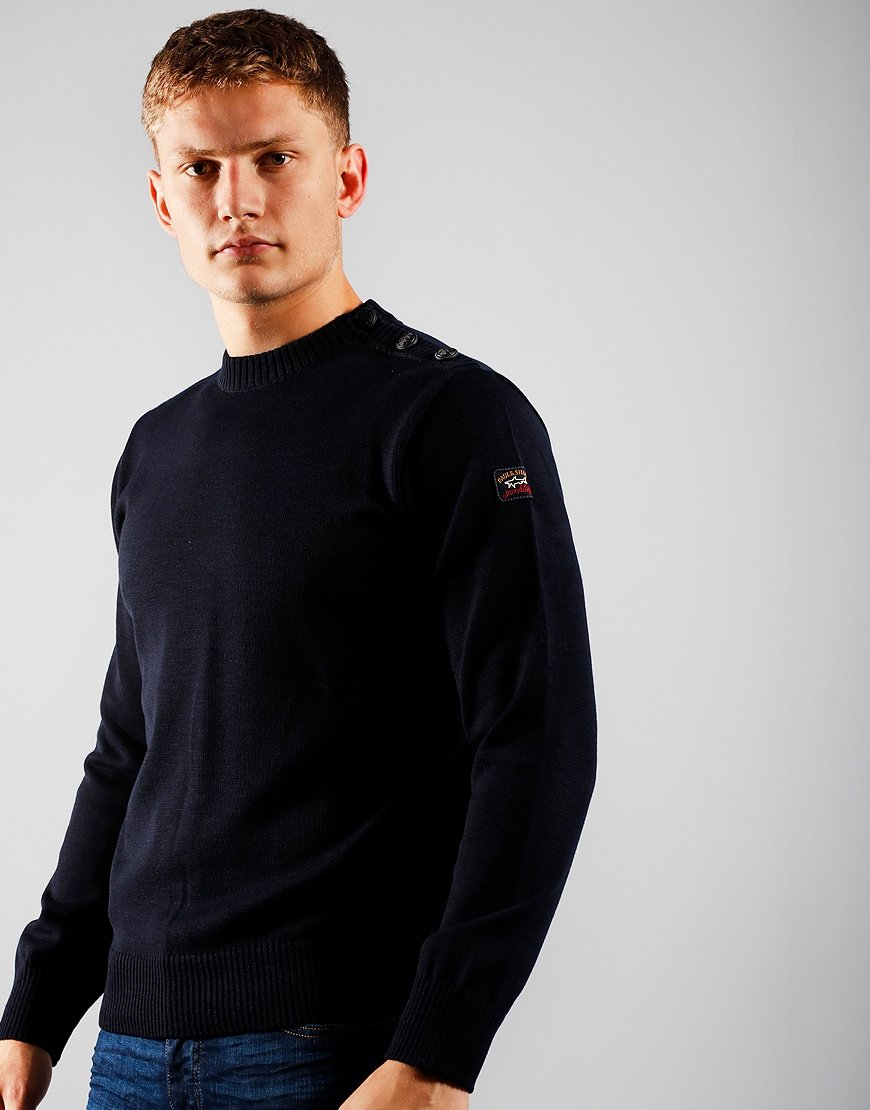 Paul & Shark Shoulder Button Knit Blue