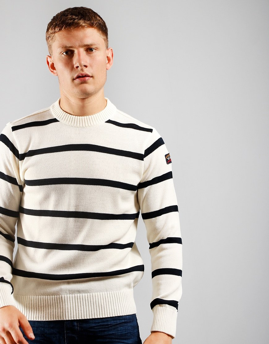 Paul & Shark Stripe Crew Knit White/Navy