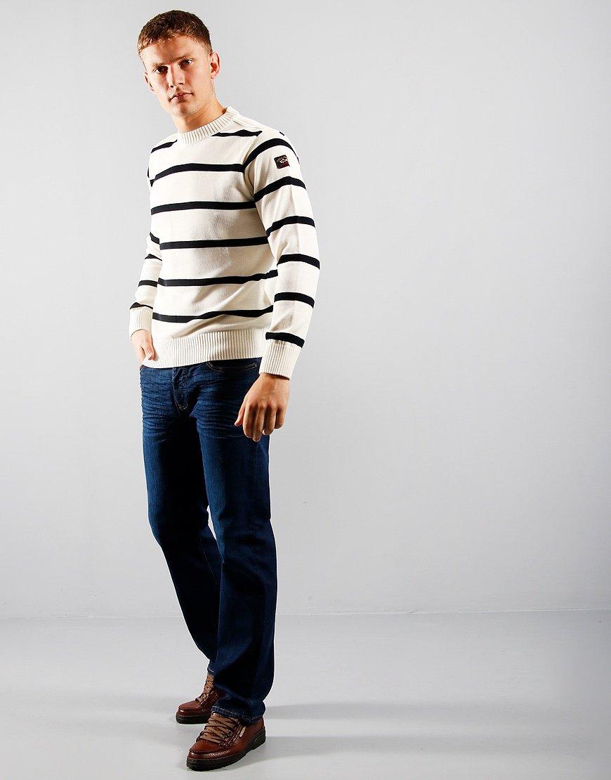 Paul & Shark Stripe Crew Knit White/Navy