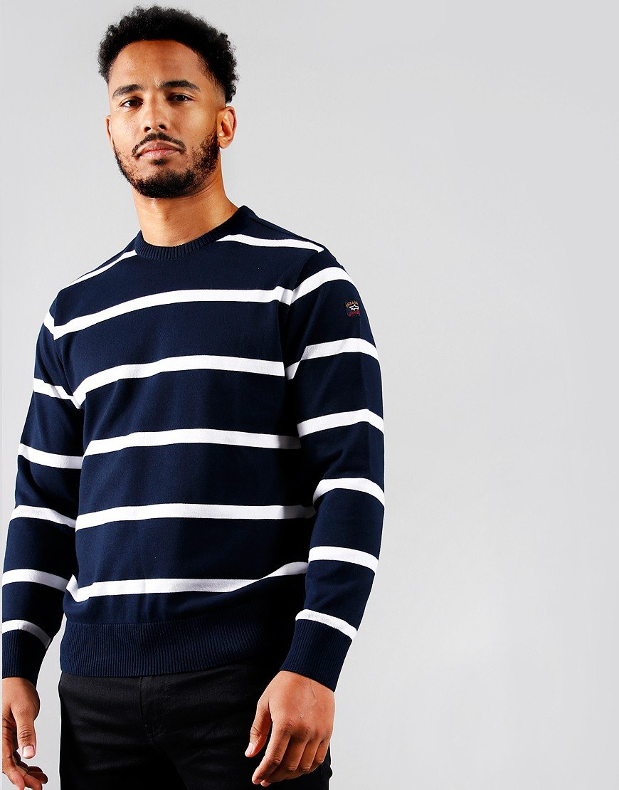 Paul & Shark Stripe Crew Knit Blue/White