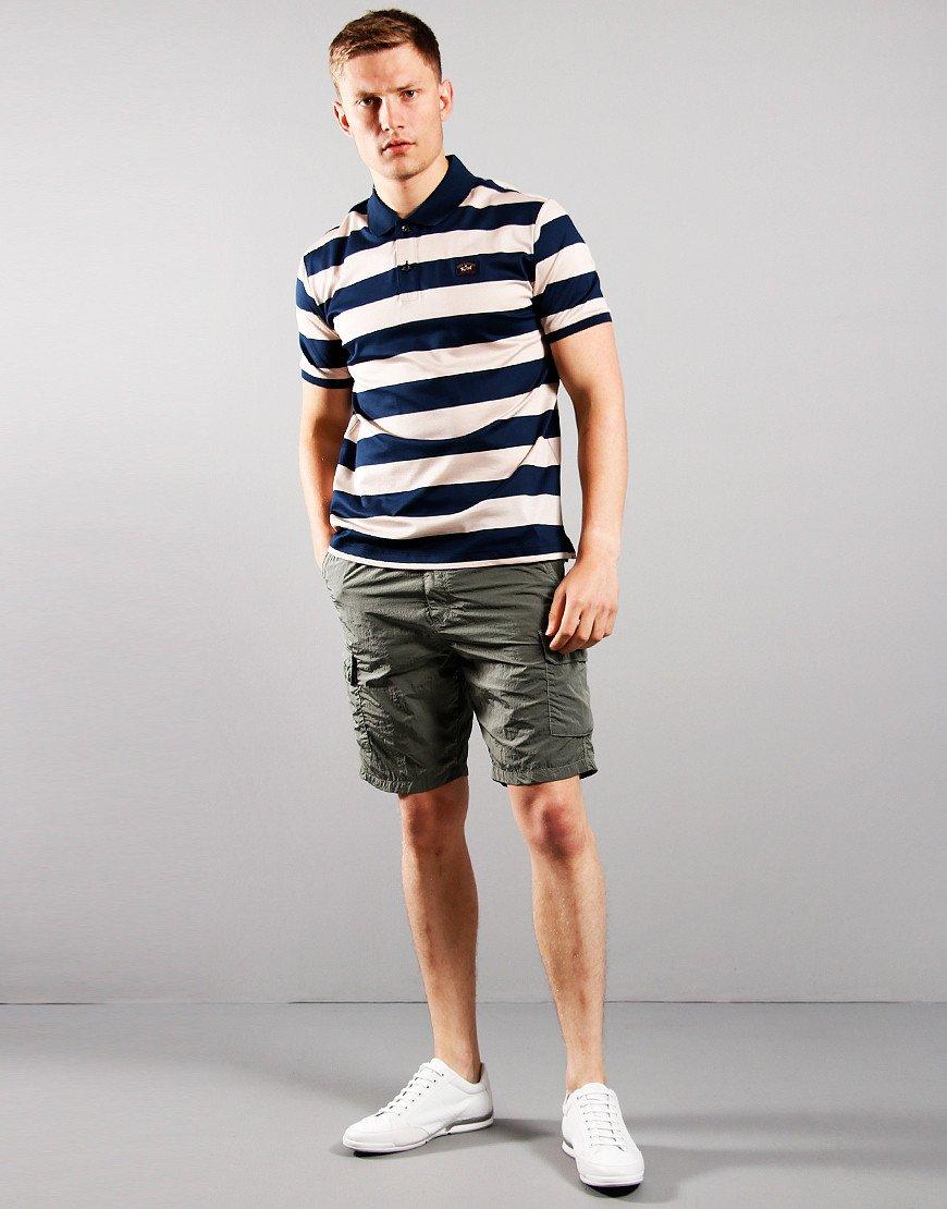 Paul & Shark Stripe Polo Shirt Blue Beige
