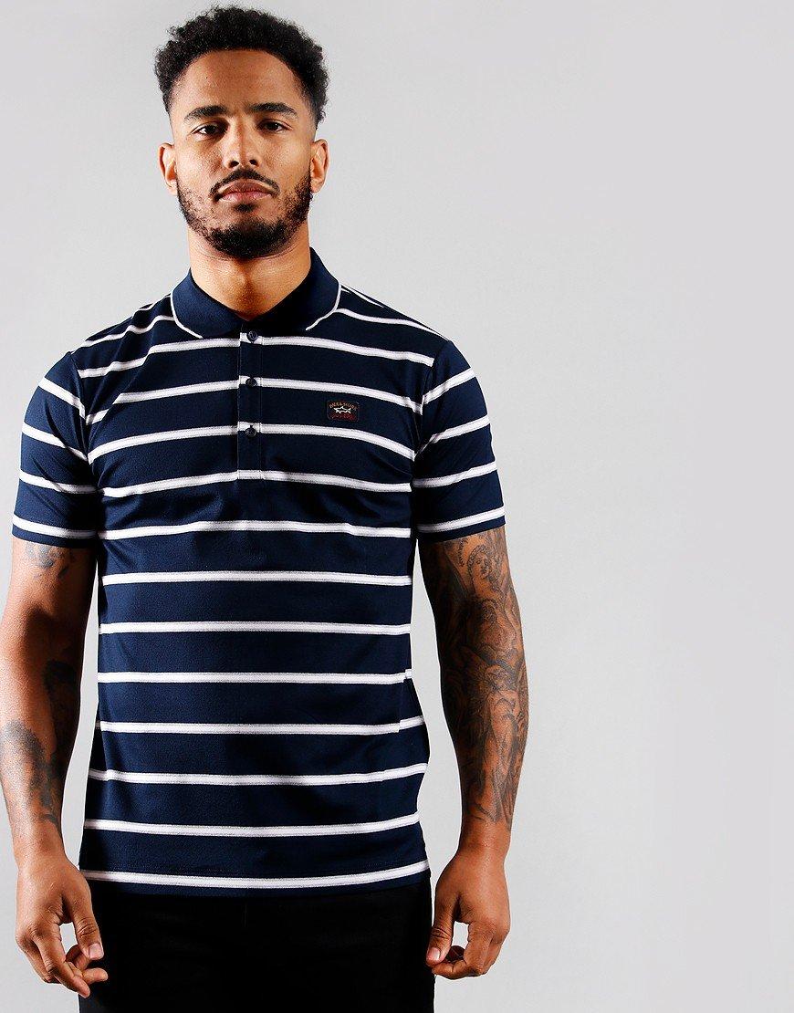 Paul & Shark Stripe Polo Shirt Blue/Grey/White