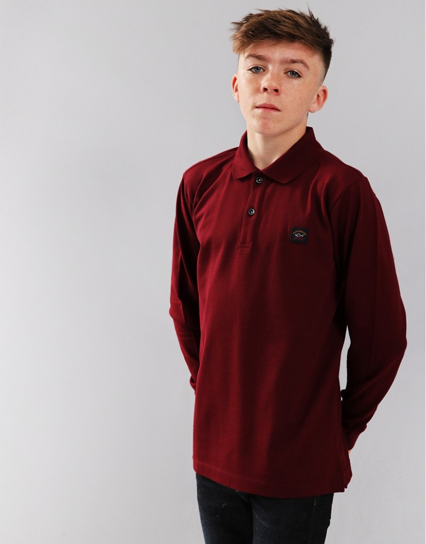 Paul & Shark Cadets Long Sleeve Polo Shirt Dark Wine