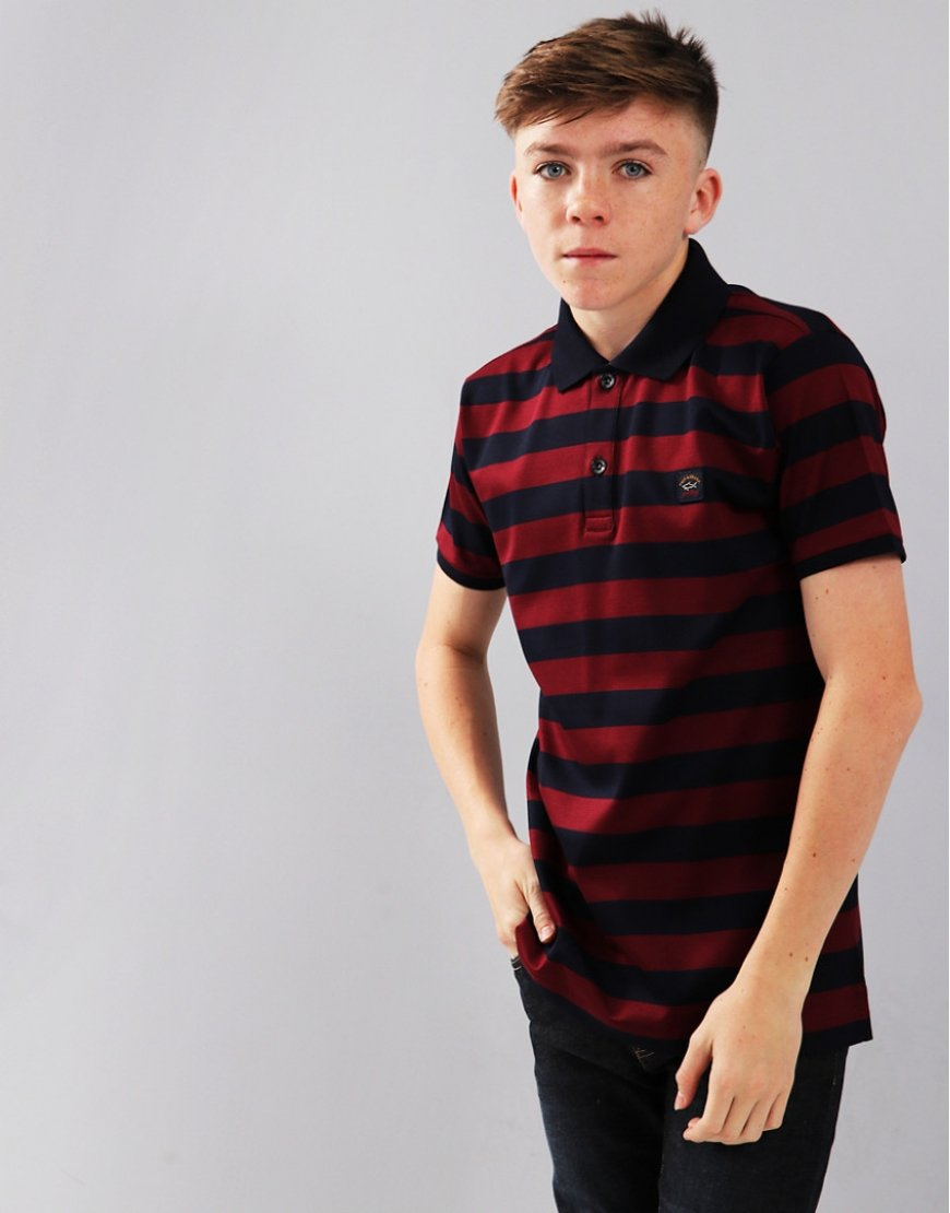 Paul & Shark Cadets Striped Polo Shirt Navy/Bordeaux