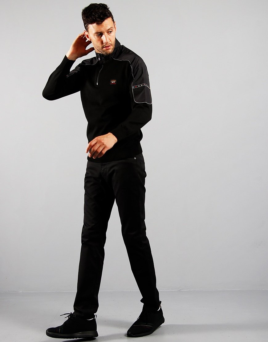 Paul & Shark Contrast Half Zip Knit Black